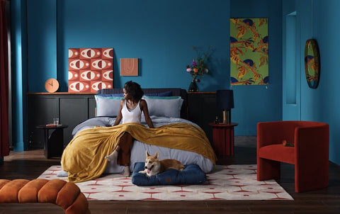 Bedsure bedroom interior decor with person sitting, dog on bed, blanket