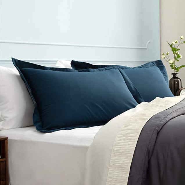 side view of the Bedsure Brushed Microfiber Pillow Shams Set of 2 - Super Soft and Cozy-blue