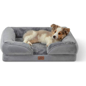 a puppet on the Bedsure Orthopedic Dog Bed, Foam Sofa with Removable Washable Cover