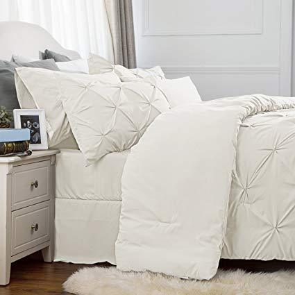 side view of the Bedsure 6 Piece Pinch Pleat Down Alternative Comforter Set-white