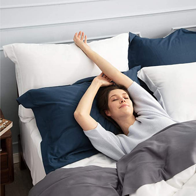 get cozy with the Bedsure Brushed Microfiber Pillow Shams Set of 2 - Super Soft and Cozy-blue
