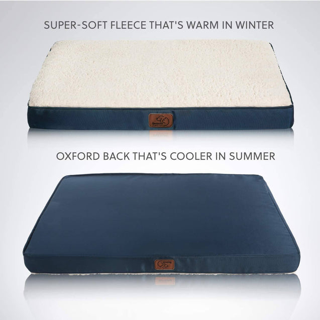 super-soft fleece that's warm in winter and oxford back that's cooler in summer