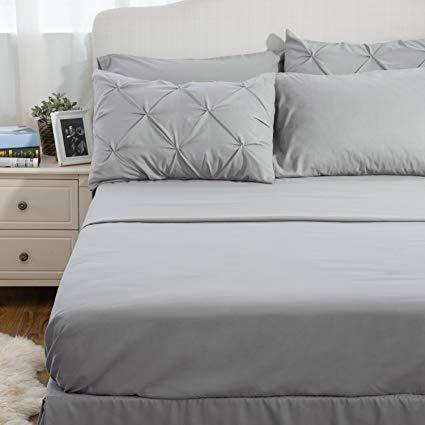 front view of the Bedsure 6 Piece Pinch Pleat Down Alternative Comforter Set