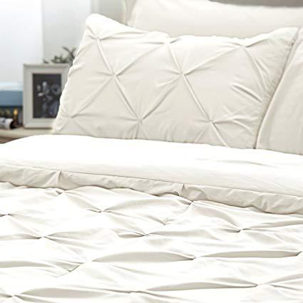 details of the Bedsure 6 Piece Pinch Pleat Down Alternative Comforter Set-white