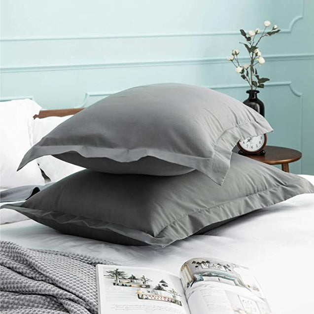 details of the Bedsure Brushed Microfiber Pillow Shams Set of 2 - Super Soft and Cozy-grey