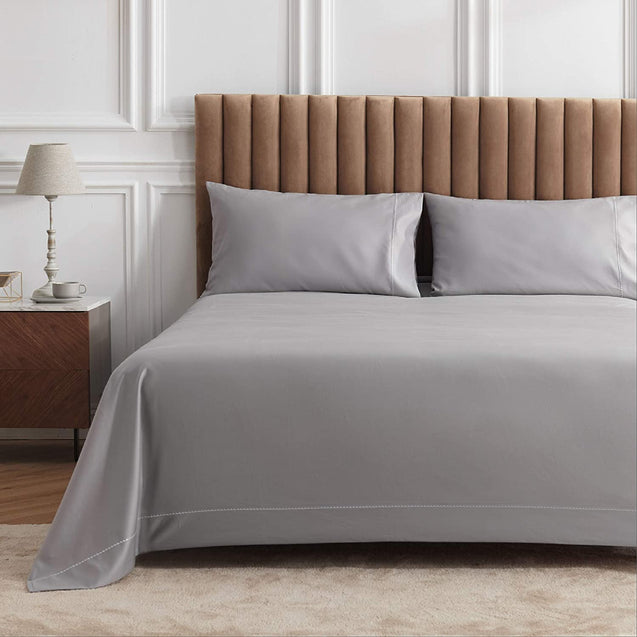 front view of the Bedsure 1000 Thread Count Bed Sheets, 100% Pure Long-Staple Cotton Sheets, 4-Pc Queen Size Sheet Set-grey