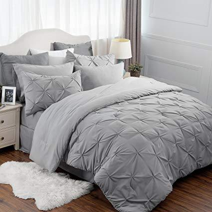 overview of the Bedsure 6 Piece Pinch Pleat Down Alternative Comforter Set