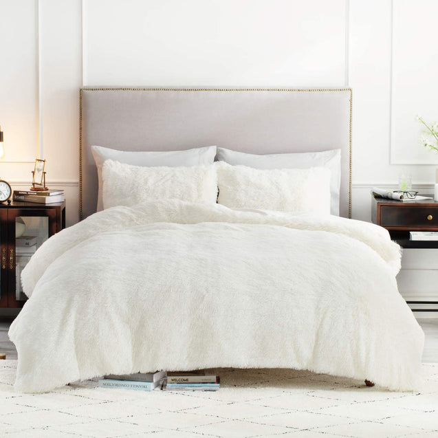 Bedsure Fluffy Duvet Cover Set - Cream White