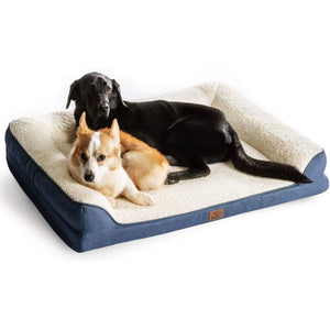 Bedsure Orthopedic Memory Foam Dog Bed-Denim Blue