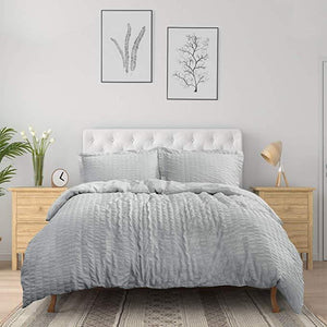 Bedsure Duvet Cover Set - Seersucker Stripe-white