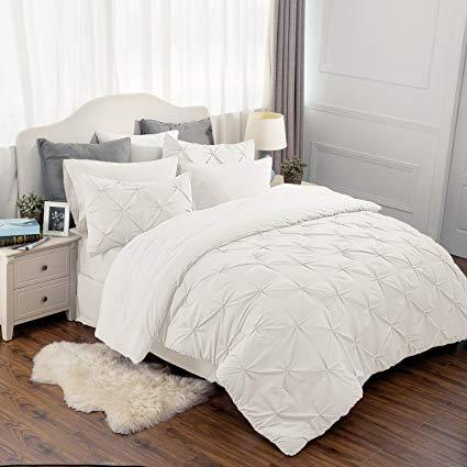 overview of the Bedsure 6 Piece Pinch Pleat Down Alternative Comforter Set-white