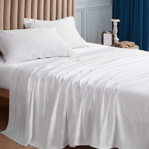 side view of the Bedsure 1000 Thread Count Bed Sheets, 100% Pure Long-Staple Cotton Sheets, 4-Pc Queen Size Sheet Set