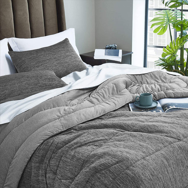 get cozy with the Bedsure Comforter Set, Reversible Warm&Cooling Comforter