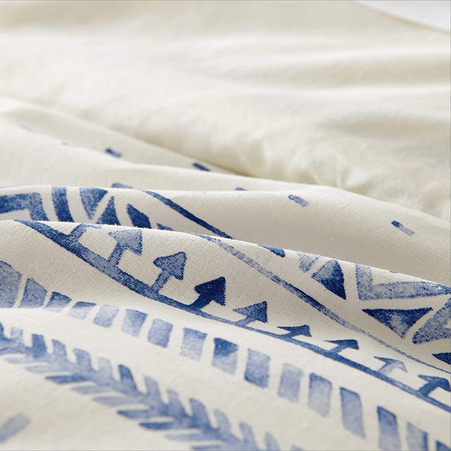 details of the Bedsure 80% Cotton 20% Linen Duvet Cover Set, Washed Cotton Queen Comforter Cover-blue