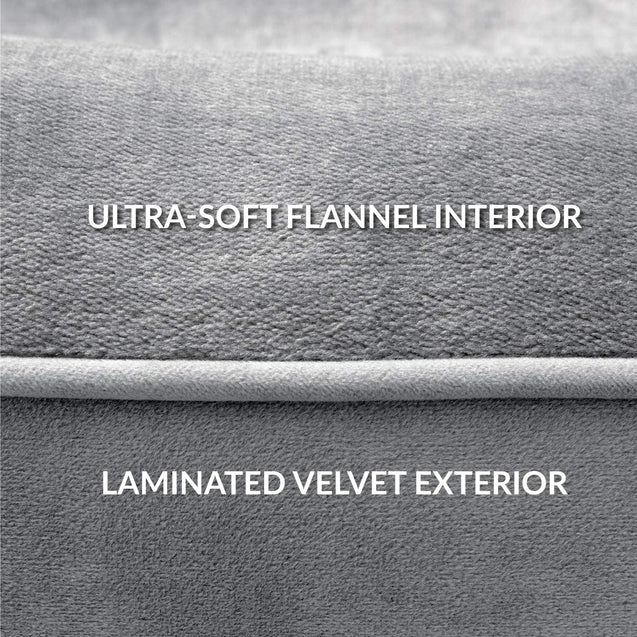 ultra-soft flannel interior and laminated velvet exterior