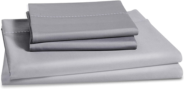 folded Bedsure 1000 Thread Count Bed Sheets, 100% Pure Long-Staple Cotton Sheets, 4-Pc Queen Size Sheet Set-grey