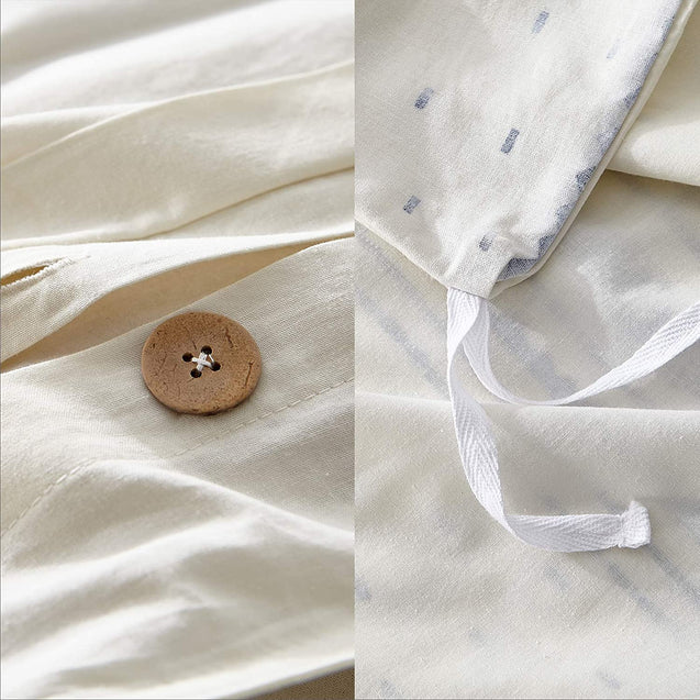 inside button design and the secure corner ties of the Bedsure 80% Cotton 20% Linen Duvet Cover Set, Washed Cotton Queen Comforter Cover