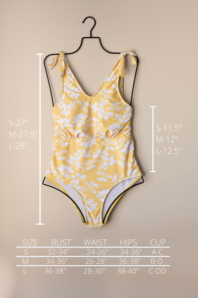 Yellow one piece swimsuit. Full coverage modest one piece swimsuit.