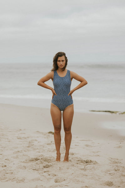 High necked cute modest one piece swimsuit