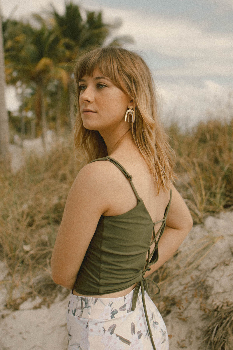 Cute modest olive green tankini top
