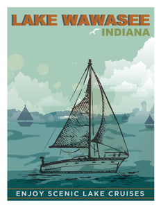 Wawasee Sailboat Postcard
