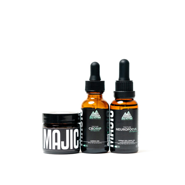 CBDrip Tincture + NeuroFocus Tincture + 1oz. Muscle and Joint Inflammation Salve Bundle