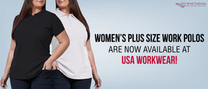 Women's Plus-size work polos are now available at USA workwear!