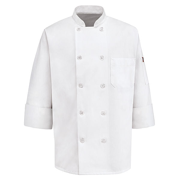 Red Kap Ten Pearl Button Chef Coat - 0415WH