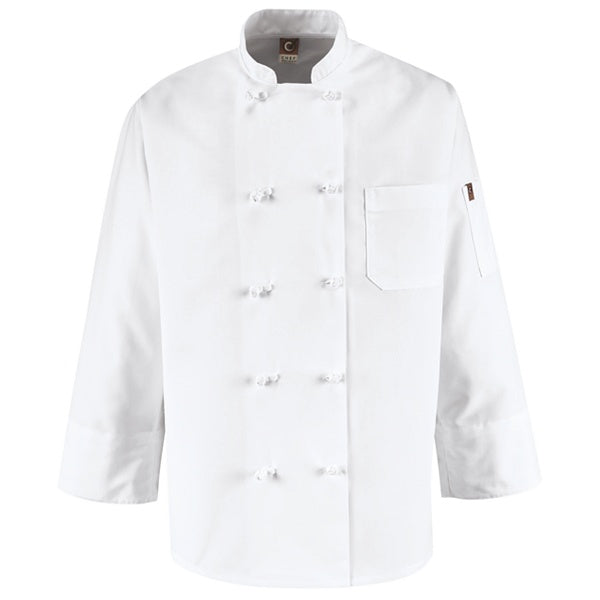 Red Kap Ten Knot-Button Chef Coat - 0421WH