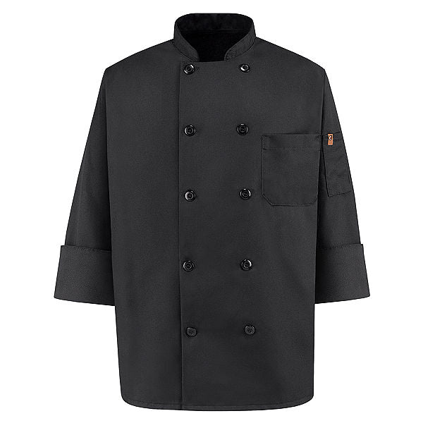 Red Kap Ten-Button Black Chef Coat - 0425BK