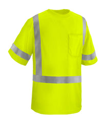 Reflective Apparel Safety Shirt: Hi Vis Pocket Shirt: Lime Birdseye: ANSI 3 (VEA-104-ST)