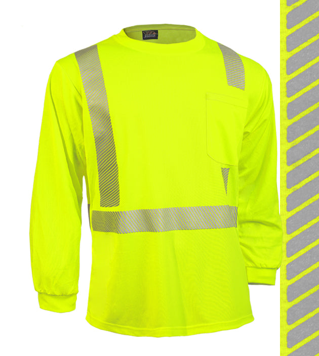 Reflective Apparel Safety Shirt: Hi Vis Pocket Shirt: LS Lime Birdseye: Comfort Trim by 3M™ (VEA-202-CT)