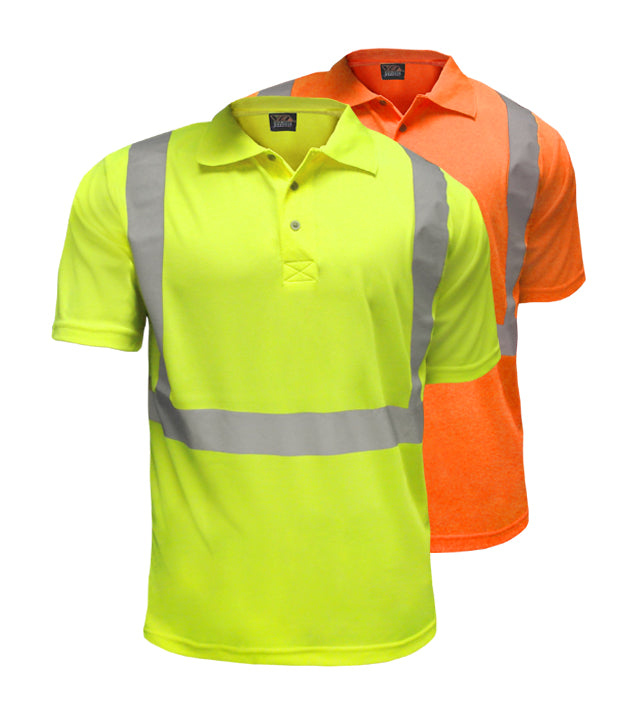 Reflective Apparel Safety Polo: Hi Vis Polo Shirt: Birdseye: ANSI 2 (VEA-302-ST)