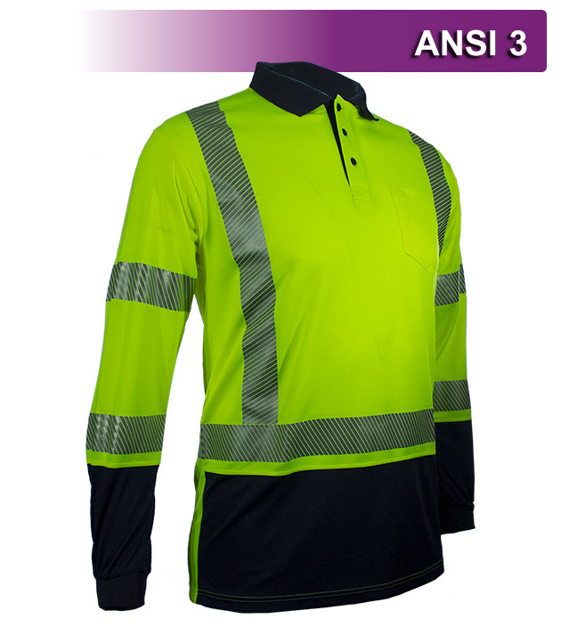 Reflective Apparel Safety Polo: Hi Vis Polo: Long Sleeve Lime/Navy Birdseye: ANSI 3 (VEA-316-CT)