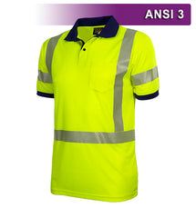 Reflective Apparel Safety Polo: Hi Vis Polo Shirt: Lime-Navy Birdseye: Comfort Trim by 3M™ (VEA-334-CT)