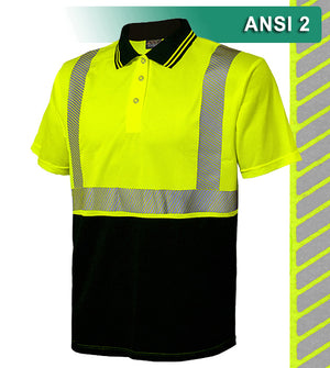 Reflective Apparel Safety Polo: HACCP Polo Shirt: Two-Tone Birdseye: Comfort Trim by 3M™ (VEA-342-CT)