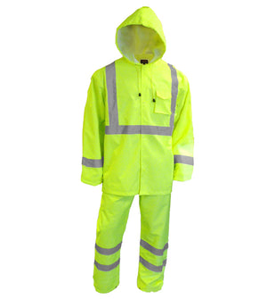 Reflective Apparel Safety Raingear: Hi Vis Rainsuit: Waterproof Hooded Parka & Pants (VEA-402-ST)