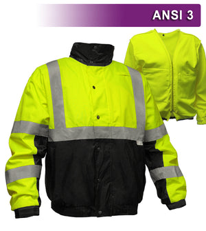 Reflective Apparel Safety Jacket: Hi Vis Bomber: Zip-Out Liner: Breathable Waterproof (VEA-412-ST)