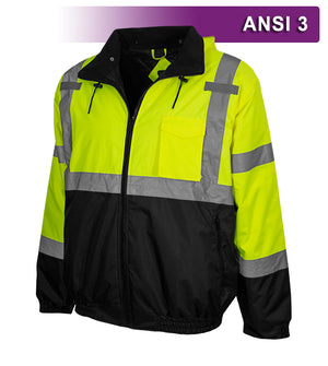 Reflective Apparel Safety Jacket: Hi Vis Bomber: Adjustable Hood: Waterproof (RAF-413-GT)