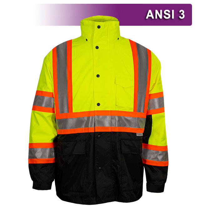 Reflective Apparel Safety DOT Jacket: HiVis Parka: Breathable Waterproof Hooded (VEA-431-CS)