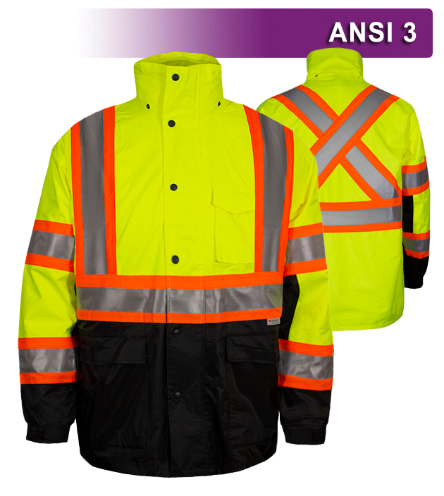 Reflective Apparel Safety X-Back DOT Jacket: HiVis Parka: Breathable Waterproof Hooded (VEA-431-CX)