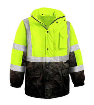 Reflective Apparel Safety Jacket: Hi Vis Parka: Breathable Waterproof Hooded: 2-Tone (VEA-431-ST)-3