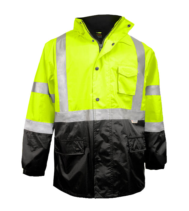 Reflective Apparel Safety Jacket: Thinsulate™ Parka: Breathable Waterproof Hooded: 2-Tone Lime (VEA-433-ST)