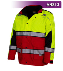 Reflective Apparel Safety Jacket: Hi Vis Responder Parka: Waterproof: 2-Tone Lime & Red (VEA-461-ST)
