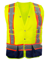 Reflective Apparel Surveyor Vest: Hi Vis 5-Point Breakaway Multi-Pocket Vest (RAF-537-GT)