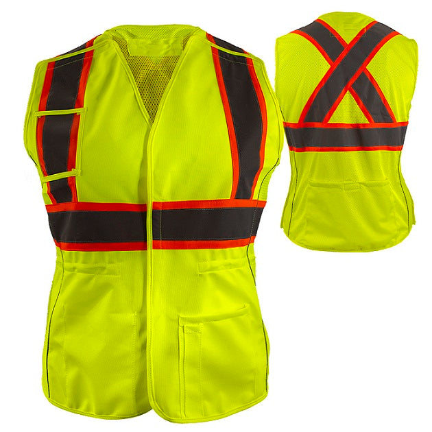 Reflective Apparel Women's Safety Vest: Hi Vis Vest: 5pt Breakaway: X-Back Lime Mesh: DOT (RAF-540-GX)
