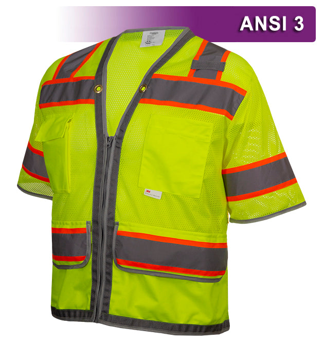 Reflective Apparel Multi-Pocket Safety Vest: Hi-Vis Lime Mesh Vest: Surveyor: Contrasting Trim (RAF-578-ET)