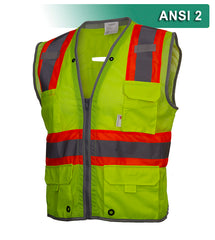 Reflective Apparel Multi-Pocket Safety Vest: Hi-Vis Mesh Vest: Surveyor: Contrasting Trim (RAF-589-ET)