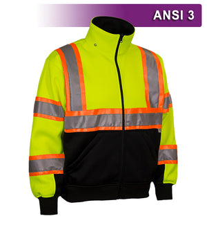 Reflective Apparel Safety Sweatshirt:Hi Vis Full Zip 2-Tone Contrasting X-Back:Removeable Hood (VEA-602-CX)
