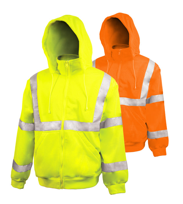 Reflective Apparel Safety Sweatshirt: Hi Vis Full Zip Orange: Removeable Hood: 10.5oz (VEA-602-ST)